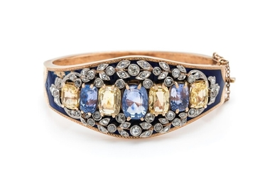 SAPPHIRE, DIAMOND AND ENAMEL BANGLE BRACELET