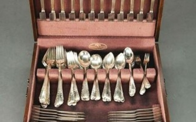 STERLING SILVER FLATWARE SERVICE FOR 12 BY REED &