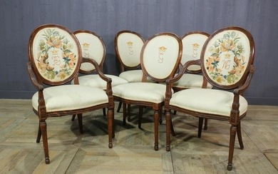 Set of 6 Antique Continental Crewel Work Chairs