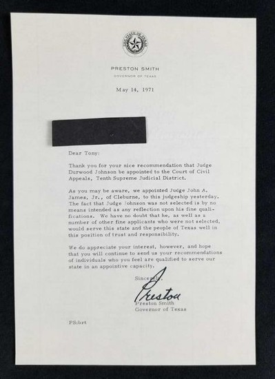 Signed Letter from Preston Smith, Texas Governor