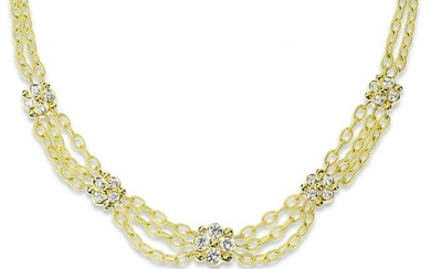 Stambolian Yellow Gold and Diamond Link Chain Necklace