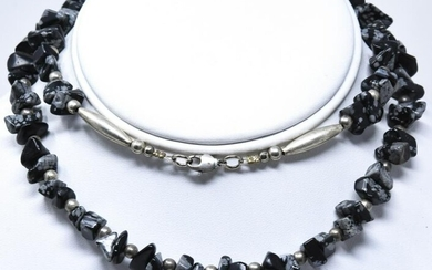 Sterling Silver & Snowflake Obsidian Necklace