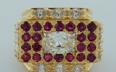 Superb 1970s DAVID WEBB 1.42 ct DIAMOND 2.20 ct RUBY