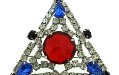 THELMA DEUTSCH PIN BROOCH WHITE RED CLEAR STONES
