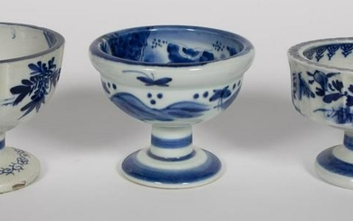 THREE, CHINESE BLUE & WHITE FOOTED PORCELAIN BOWLS