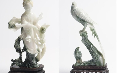 TWO CHINESE JADE FIGURAL CARVINGS PEOPLE'S REPUBLIC OF CHINA PERIOD, CIRCA 1970S