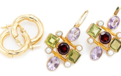 TWO PAIRS OF GOLD AND SILVER GILT EARRINGS; pair of 9ct hoops, wt.1.32g, other silver gilt set with cultured pearls a garnet, amethy...