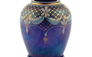 TWO PIECE, HAND ENAMELED FENTON VASE BY GHERKE