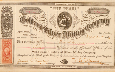 """""""The Pearl"""" Gold & Silver Mining Co. Stock Certificate, Silver Mountain, 1863 #100987"""