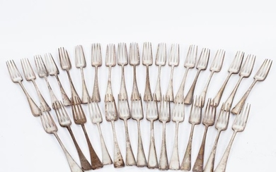 Thirty-three George III Hanoverian pattern silver table forks, various...