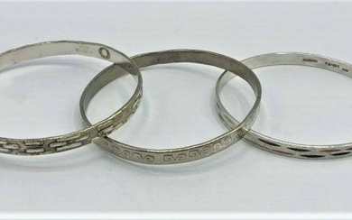 Three [3] Assorted Sterling Mexico Bangle Bracelets