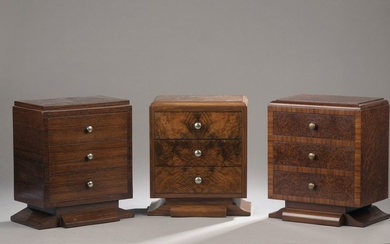 Three Art Deco-style chest of drawers made of...