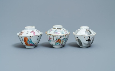 Three Chinese famille rose and grisaille bowls and covers, 19th C.