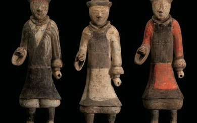 Three terracotta figures, China, Tang Dynasty