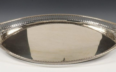 Tray, Empire style, barge shaped with pierced rim...