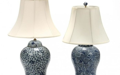Two Chinese Blue and White Temple Jar Table Lamps
