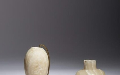 Two Egyptian Alabaster Vessels Height of bottle 3