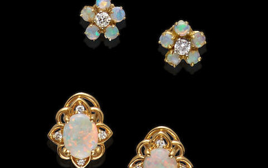 Two Pairs of Opal Earstuds