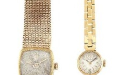 Two lady's gold wristwatches, the first an...