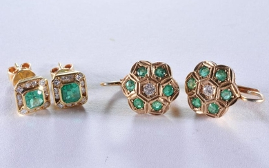 Two pairs of 18k yellow gold, diamond and emerald