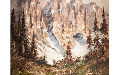 UNATTRIBUTED OIL PAINTING ON CANVAS Winter landscape with hi...
