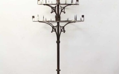 Unusual late 19th / early 20th century floor standing wrought iron candle stand