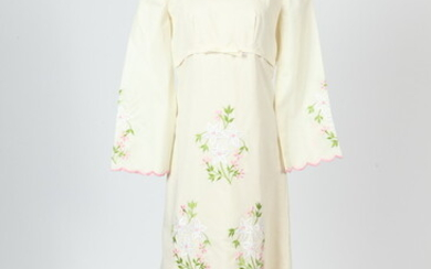 VINTAGE WHITE GOWN WITH EMPIRE WAIST, DETAILED PINK EMBROIDERED FLORAL...