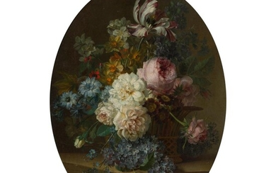 WILLEM VAN LEEN (DUTCH 1753 - 1825) STILL LIFE OF FLOWERS IN A BASKET