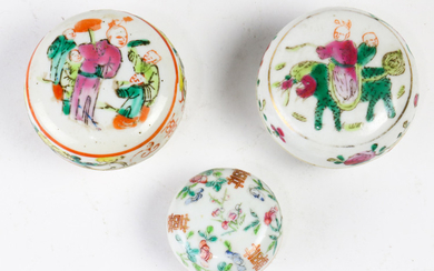 (lot of 3)Three Chinese famille-rose Seal Paste Boxes