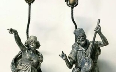 pair of 19thc 32 Inch High Austrian lamps