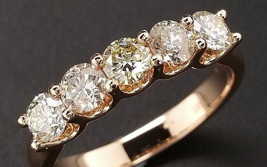 1.00ct Natural Fancy Mix Colors Diamonds - 14 kt. Pink gold - Ring - ***No Reserve Price***
