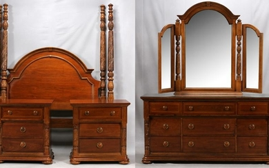 MAHOGANY QUEEN SIZE BED, DRESSER & NIGHT STANDS 4 PCS,