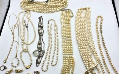 13 Assorted Faux Pearl Necklaces Bracelets Earrings