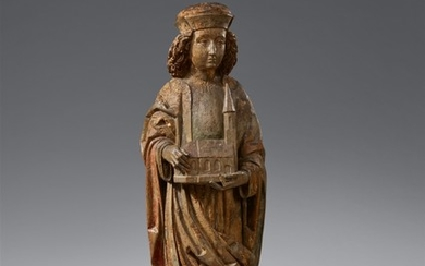 A late 15th century high relief figure of a S ..., Heiliger mit Kirchenmodell