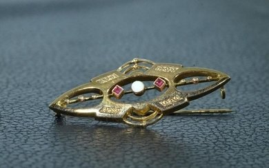 14 KT Yellow Gold Brooch set with Opal and Rubies