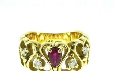 14K Yellow Gold Ruby Diamond Hearts Ring