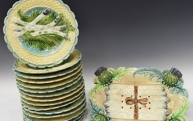 (16) FRENCH MAJOLICA ASPARAGUS PLATES & CRADLE