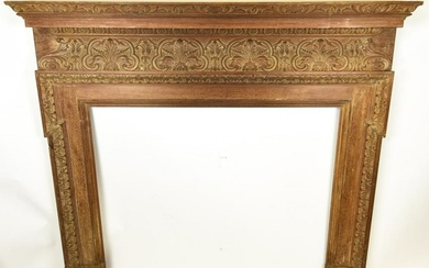 Antique 19th C Hand Carved French Fireplace Mantle