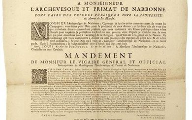 """1708. (AUDIENCE). """"Letter from the KING to the Archbishop and Primate of NARBONNE, to make public prayers for the prosperity of His Majesty's Arms."""" (at the start of the brand new Campaigns). 1708. Mandate of the Vicar General and Metropolitan..."""