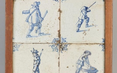17th Century Dutch 4-pass tile panel. 2x Figures with