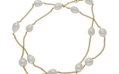 18 kt. South sea pearl, Yellow gold, 11 and 12 mm pearls (approx) - Necklace