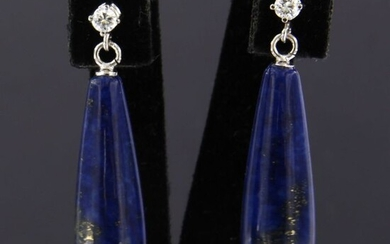 18 kt. White gold - Earrings - 0.12 ct Diamond - Lapis lazuli