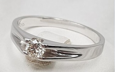 18 kt. White gold - Ring - 0.20 ct Diamond
