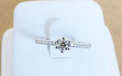 18 kt. White gold - Ring - 0.30 ct Diamond - Diamond