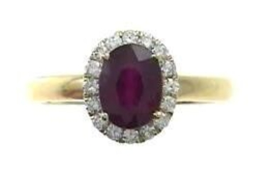 18K YELLOW GOLD GLASSFILLED RUBY & DIAMOND RING