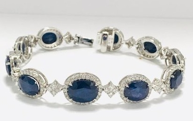 18ct White Gold Sapphire and Diamond bracelet featuring,...