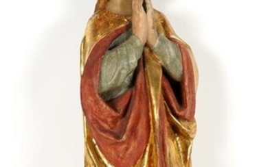 19th C Carved Polychrome and Gilded Madonna Figure