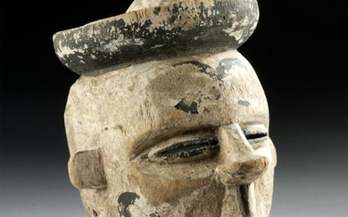 20th C. African Ogoni Wooden Mask w/ Articulated Jaw