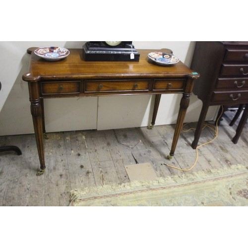 20th Century Walnut 3 Drawer Side Table on reeded Legs