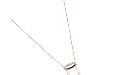 An aquamarine, sapphire and diamond pendent necklace